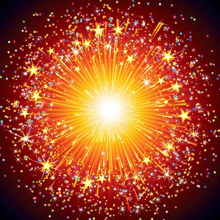 bombe: Résumé explosion de feux d'artifice festif sur fond noir