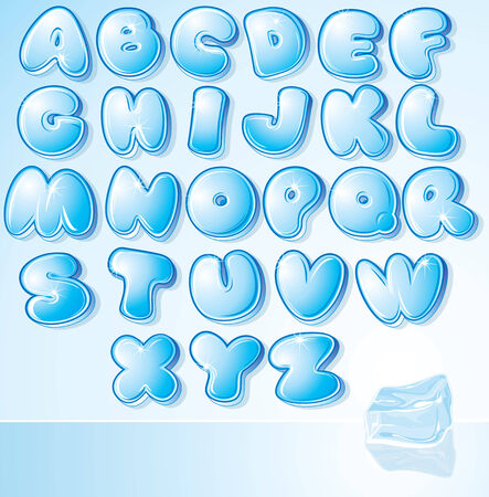 water liquid letter: Artistic Ice Water Font -   illustration for your christmas card design Illustration