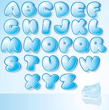 czcionki: Artystycznych lodu wody czcionki - ilustracji projekt kartki Å›wiÄ…teczne