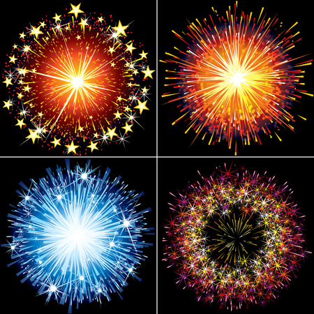 Collection of festive  fireworks, sparklers and salute explosions Stock Vector - 8186165