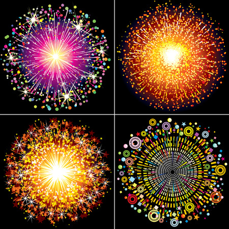 Collection of Colorful   fireworks, sparklers and salute explosions Vector