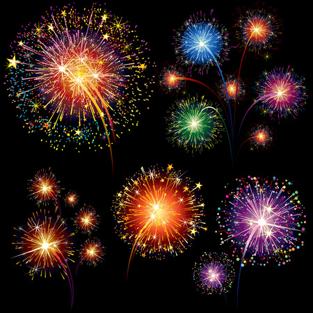 Brightly Colorful   Fireworks and Salute-  isolated on black background Vector