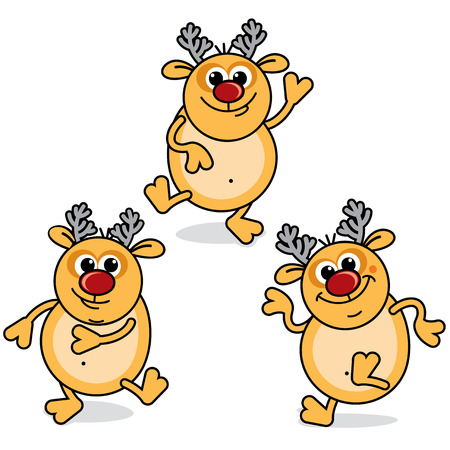 Funny Cartoon Dancing Rudolph -  christmas icons Vector