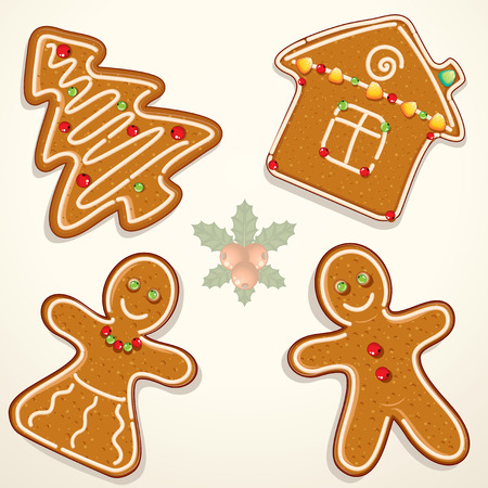 gingerbread cookies: Christmas Gingerbread Cookies Collection -  illustrations isolated on white Illustration