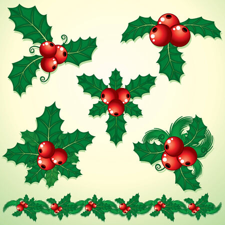 green leaves border: Christmas Holly - set of decorative elements