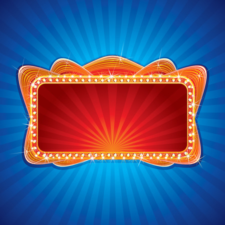 marquee sign: Incandescente neon segno - illustrazione per la progettazione di festa o di saluto di testo