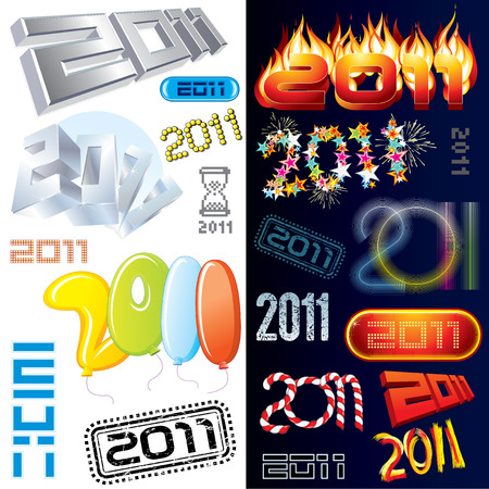 2011 new year labels, icons, tags and stamps - set of various conceptual   design elements Vector