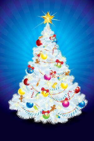 miracle tree: Stylized snowy Christmas Tree