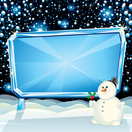 cartoon new: Cartoon Christmas Card with Frozen Billboard and Funny Snowman ready for greeting text Illustration
