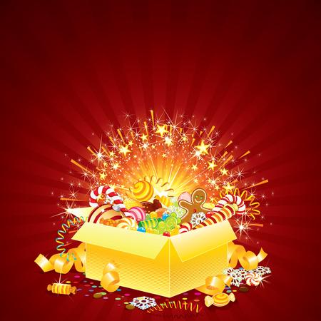 apriva: Biglietto di auguri vivaci con apertura confezione regalo per Natale, compleanno o altri eventi Vettoriali