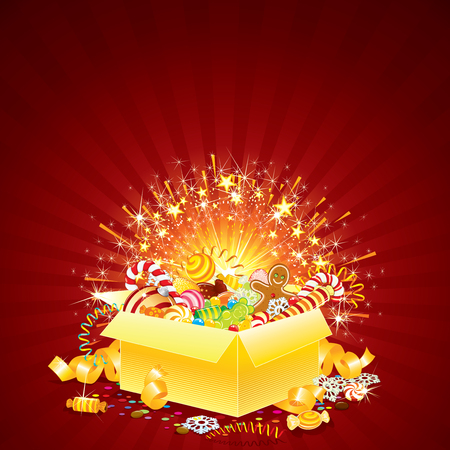 Brightly Greeting Card with opened Gift box for Christmas, Birthday or other Events Vector