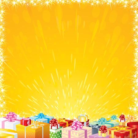 motley: Gioioso festa sfondo con Motley Gift Boxes - pronto per il tuo greetigs o desideri