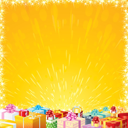 christmas list: Joyful Festive background with Motley Gift Boxes - ready for your own greetigs or wishes