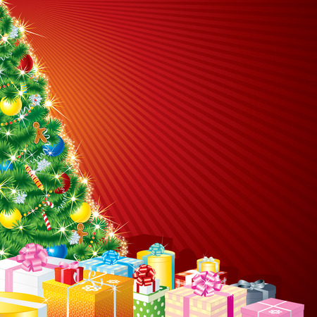 Christmas Tree and Gifts with copy space Vector