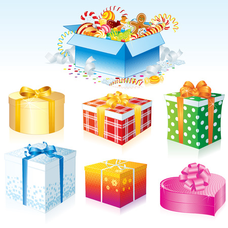 Gift Boxes Colorful collection Stock Vector - 8265779