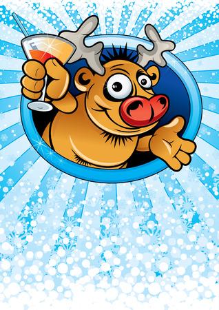 Card with funny cartoon Rudolph Reindeer Stock Vector - 8265770