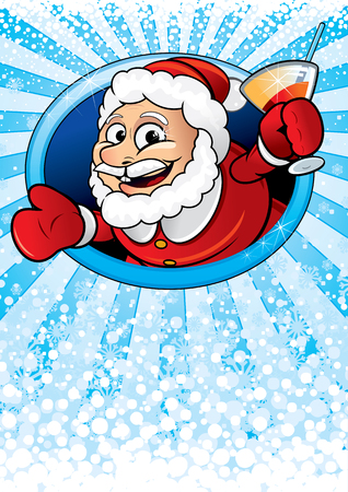 Card with funny cartoon Santa Claus Vector