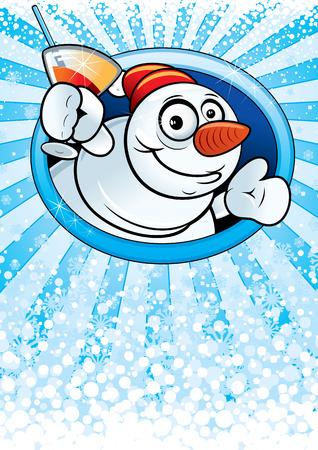 Card with funny cartoon Snowman Vector