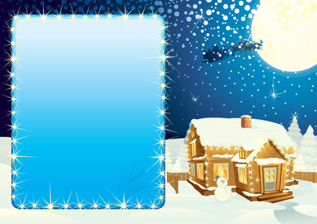 Illustrated Christmas poster - include classic xmas winter scene and illuminated panel for your text or design. Vector