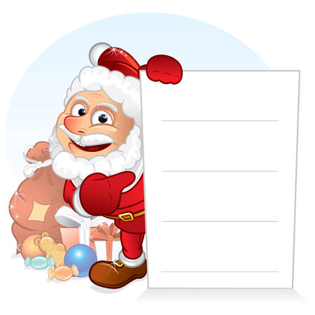toy shop: Santa Sign - Cartoon Santa Claus with Gifts holding a blank sign, vector template for your text