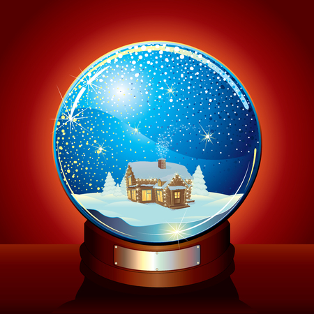 winter time: Christmas Snow globe with tranquil winter composition and falling snow