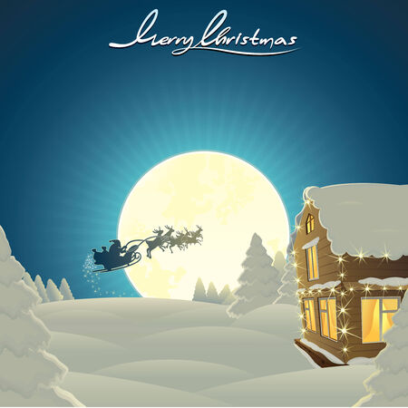 merry time: Retro styled Christmas Card template with copy space - vector image