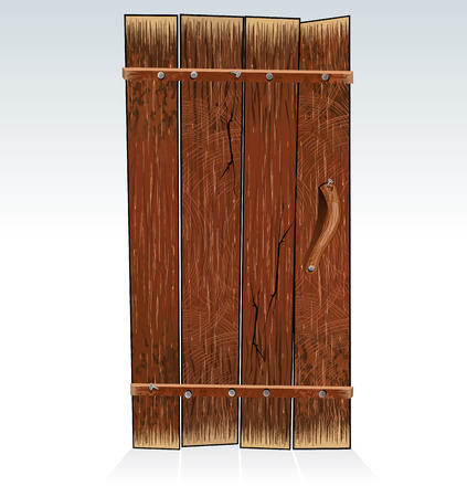 Old Barn Door - vector Illustration Vector