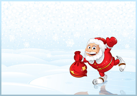 Santa Claus with full sack of gifts Vector