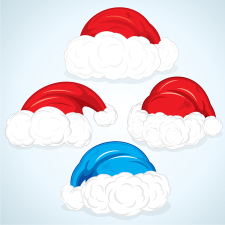 Santa Hats Set - vector illustration without gradients, easy editable colors Stock Vector - 8363997