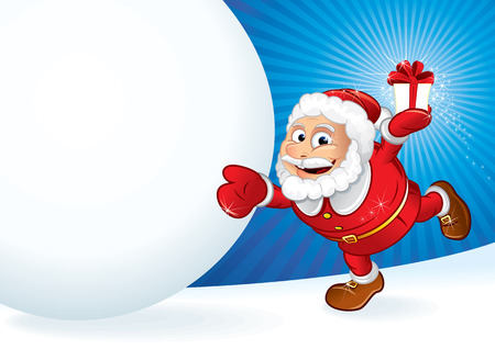 gift tag: Santa Claus with gift and snowball