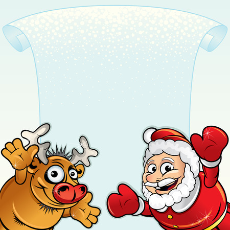 Christmas background with Funny Santa and Rudolph Vector