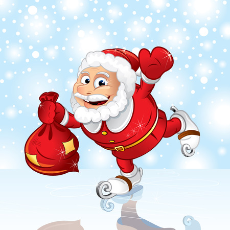 Skating Santa with sack. Vector illustration Vector
