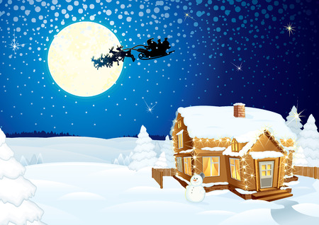 winter time: Santa Claus on sledge with Magic Deers flying over night winter background with forest, hug, moon and lonely snowman - detailed vector artwork
