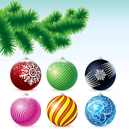 Xmas Baubles Collection with Fir Tree branch - colorful vector illustration Stock Vector - 8364007