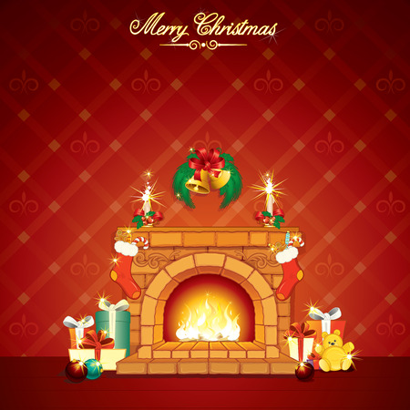 Wonderful Cartoon Christmas interior with hot fireplace and classical xmas gits - detailed card for your greeting text