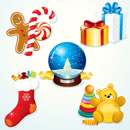 Various Christmas Gifts for your festive design Vector