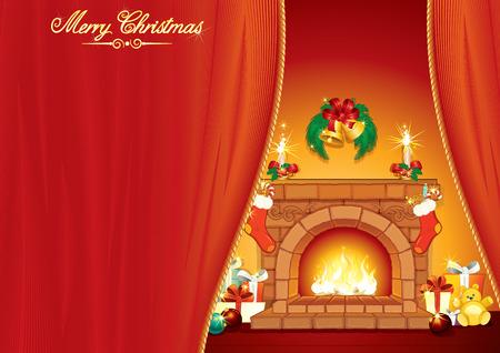 toy sack: El d�a de Navidad - tarjeta de felicitaci�n ilustrada con interior festivo, la chimenea y la cl�sica regalos de Xmas - listos para el texto