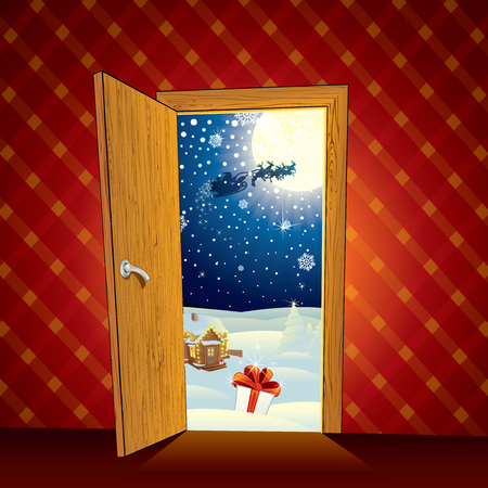 Classic Christmas magic scene - cartoon illustration Vector