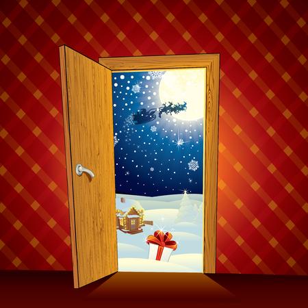 클래식 크리스마스 마술 장면 - 만화 그림