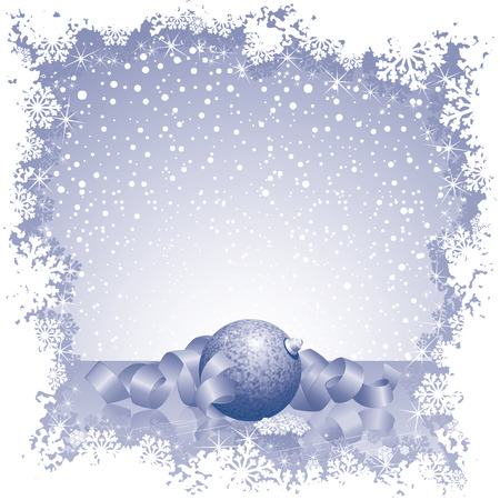 Abstract Monochrome Christmas card with ball, ribbons, and snowflakes Vector