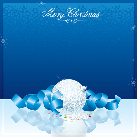 Blue Christmas background with copy-space Vector