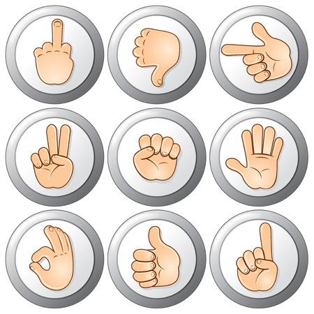 Hand Gesture Buttons Stock Vector - 9060649