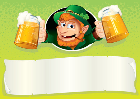 ale: Friendly Irish Leprechaun with mugs of ale - Saint Patrick s Day festive background with blank banner for your text and greetings
