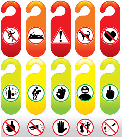 do not: Do Not Disturb - door knob signs, icons and labels collection for your text and design Illustration