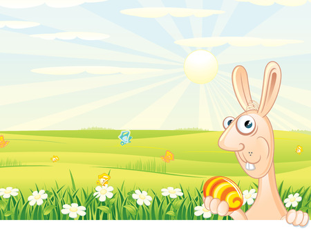 Cute Easter bunny with painting egg on a sunny spring meadow with flowers and butterflies Vector