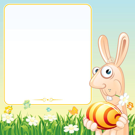 Fun Easter Bunny with Egg - festive illustration with copyspace for your greeting card Vector