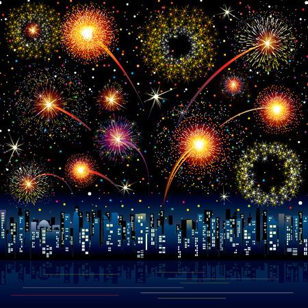 fuegos artificiales: Fireworks festivos sobre una ciudad - todos los elementos agrupados