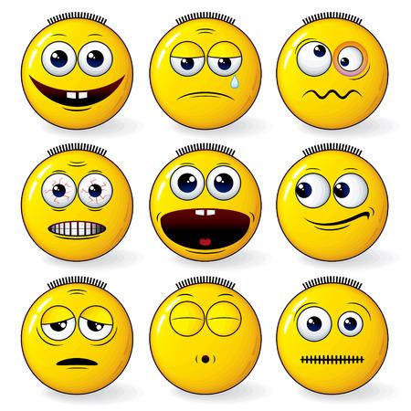 pelota caricatura: Conjunto de expresión sonriente amarilla cool