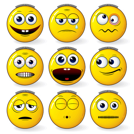 Set of cool yellow smiley expression  Vector