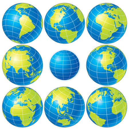 Set of detailed globes showing earth with all continents Stock Vector - 9060757